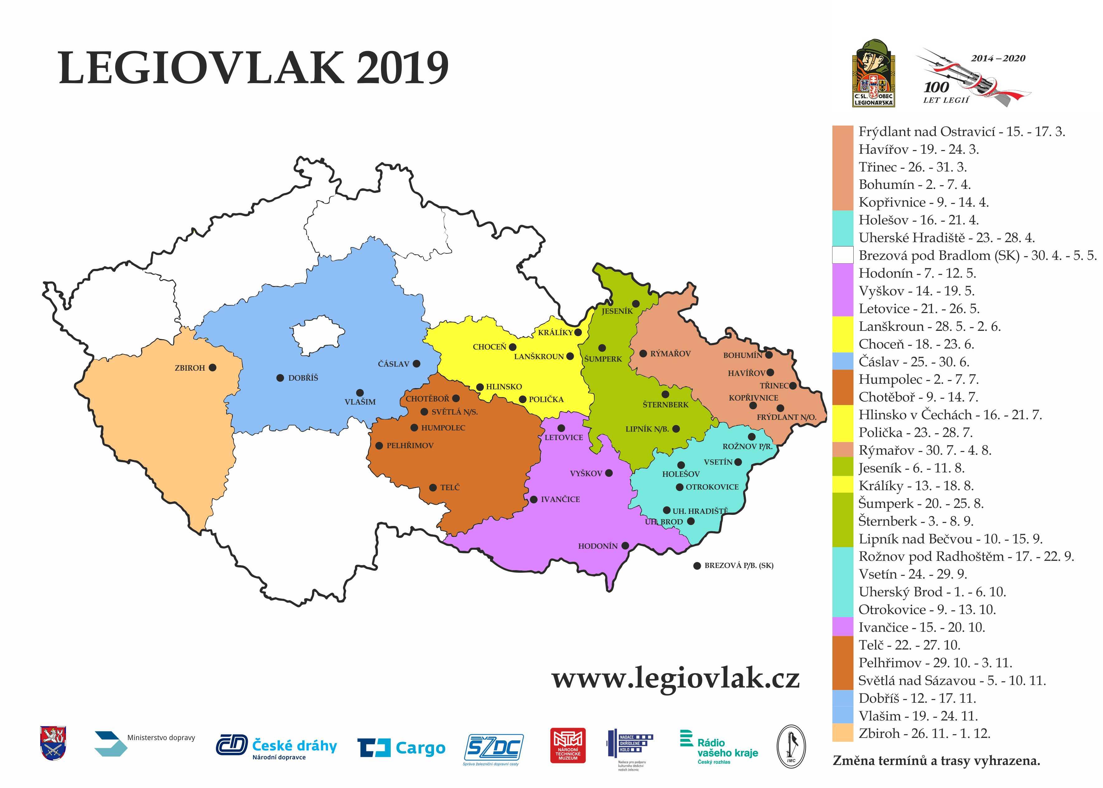 Trasa Legiovlaku 2019